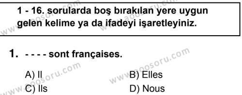 Fransızca 6 Dersi 2018 - 2019 Yılı 1. Dönem Sınavı 1. Soru