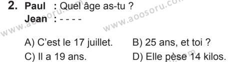 Fransızca 6 Dersi 2018 - 2019 Yılı 2. Dönem Sınavı 2. Soru