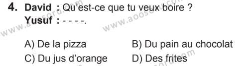 Fransızca 6 Dersi 2018 - 2019 Yılı 2. Dönem Sınavı 4. Soru
