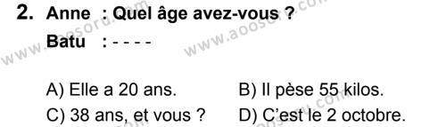 Fransızca 6 Dersi 2018 - 2019 Yılı 3. Dönem Sınavı 2. Soru