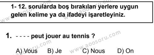 Fransızca 6 Dersi 2019 - 2020 Yılı 1. Dönem Sınavı 1. Soru