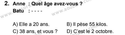 Fransızca 6 Dersi 2019 - 2020 Yılı 2. Dönem Sınavı 2. Soru
