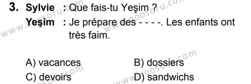 Fransızca 6 Dersi 2019 - 2020 Yılı 2. Dönem Sınavı 3. Soru