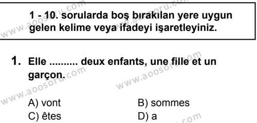 Fransızca 7 Dersi 2011 - 2012 Yılı 2. Dönem Sınavı 1. Soru
