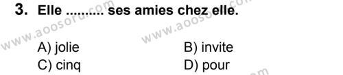 Fransızca 7 Dersi 2011 - 2012 Yılı 2. Dönem Sınavı 3. Soru