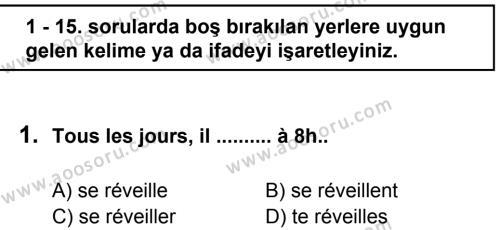 Fransızca 7 Dersi 2011 - 2012 Yılı 3. Dönem Sınavı 1. Soru