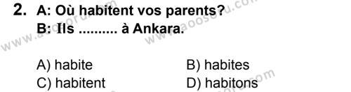 Fransızca 7 Dersi 2011 - 2012 Yılı 3. Dönem Sınavı 2. Soru