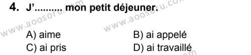 Fransızca 7 Dersi 2011 - 2012 Yılı 3. Dönem Sınavı 4. Soru