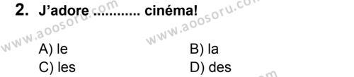 Fransızca 7 Dersi 2012 - 2013 Yılı 1. Dönem Sınavı 2. Soru