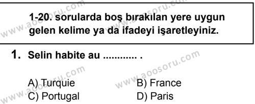 Fransızca 7 Dersi 2012 - 2013 Yılı 2. Dönem Sınavı 1. Soru