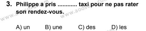 Fransızca 7 Dersi 2012 - 2013 Yılı 2. Dönem Sınavı 3. Soru