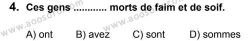 Fransızca 7 Dersi 2012 - 2013 Yılı 2. Dönem Sınavı 4. Soru