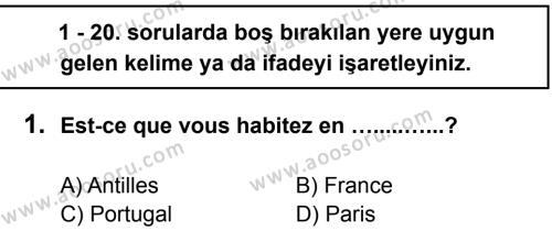 Fransızca 7 Dersi 2012 - 2013 Yılı 3. Dönem Sınavı 1. Soru