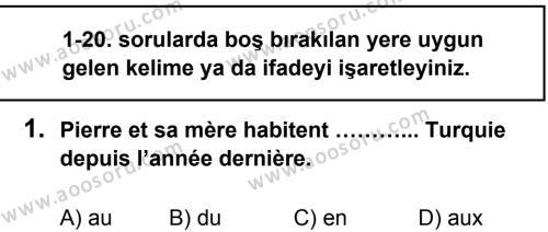 Fransızca 7 Dersi 2013 - 2014 Yılı 1. Dönem Sınavı 1. Soru