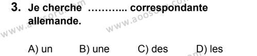 Fransızca 7 Dersi 2013 - 2014 Yılı 1. Dönem Sınavı 3. Soru