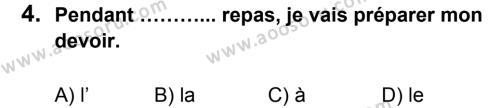Fransızca 7 Dersi 2013 - 2014 Yılı 1. Dönem Sınavı 4. Soru