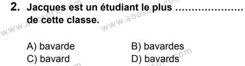 Fransızca 7 Dersi 2013 - 2014 Yılı 2. Dönem Sınavı 2. Soru