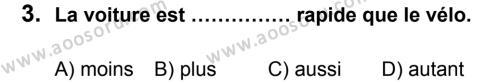 Fransızca 7 Dersi 2013 - 2014 Yılı 2. Dönem Sınavı 3. Soru