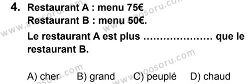 Fransızca 7 Dersi 2013 - 2014 Yılı 2. Dönem Sınavı 4. Soru