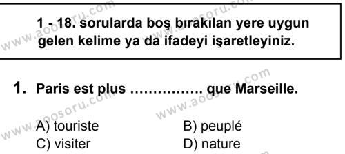 Fransızca 7 Dersi 2013 - 2014 Yılı 3. Dönem Sınavı 1. Soru