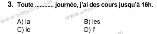 Fransızca 7 Dersi 2014 - 2015 Yılı 1. Dönem Sınavı 3. Soru