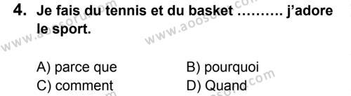Fransızca 7 Dersi 2014 - 2015 Yılı 2. Dönem Sınavı 4. Soru