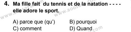 Fransızca 7 Dersi 2014 - 2015 Yılı 3. Dönem Sınavı 4. Soru