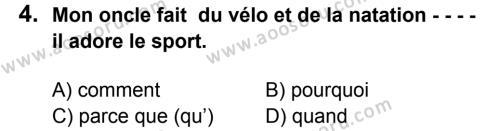 Fransızca 7 Dersi 2015 - 2016 Yılı 1. Dönem Sınavı 4. Soru