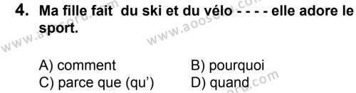 Fransızca 7 Dersi 2015 - 2016 Yılı 2. Dönem Sınavı 4. Soru
