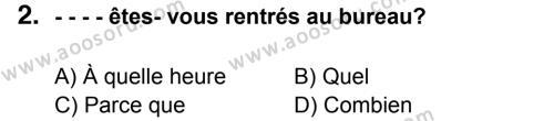 Fransızca 7 Dersi 2015 - 2016 Yılı 3. Dönem Sınavı 2. Soru