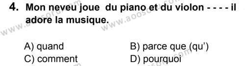 Fransızca 7 Dersi 2015 - 2016 Yılı 3. Dönem Sınavı 4. Soru