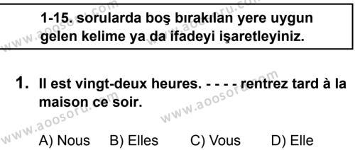 Fransızca 7 Dersi 2016 - 2017 Yılı 1. Dönem Sınavı 1. Soru