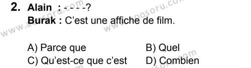 Fransızca 7 Dersi 2016 - 2017 Yılı 1. Dönem Sınavı 2. Soru