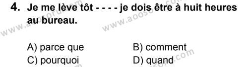 Fransızca 7 Dersi 2016 - 2017 Yılı 1. Dönem Sınavı 4. Soru