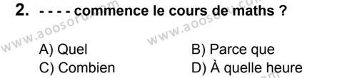 Fransızca 7 Dersi 2016 - 2017 Yılı 2. Dönem Sınavı 2. Soru
