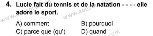 Fransızca 7 Dersi 2016 - 2017 Yılı 2. Dönem Sınavı 4. Soru