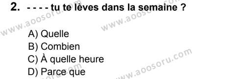 Fransızca 7 Dersi 2016 - 2017 Yılı 3. Dönem Sınavı 2. Soru