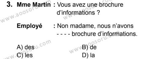 Fransızca 7 Dersi 2016 - 2017 Yılı 3. Dönem Sınavı 3. Soru