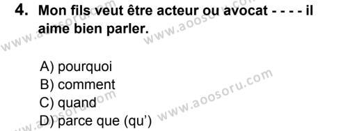 Fransızca 7 Dersi 2016 - 2017 Yılı 3. Dönem Sınavı 4. Soru