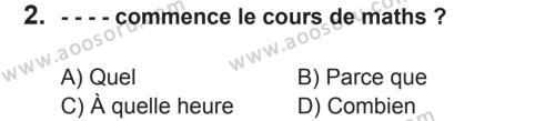 Fransızca 7 Dersi 2017 - 2018 Yılı 2. Dönem Sınavı 2. Soru