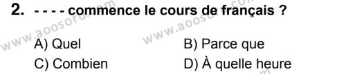 Fransızca 7 Dersi 2017 - 2018 Yılı 3. Dönem Sınavı 2. Soru