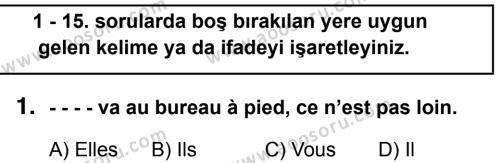 Fransızca 7 Dersi 2018 - 2019 Yılı 1. Dönem Sınavı 1. Soru