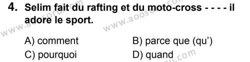 Fransızca 7 Dersi 2018 - 2019 Yılı 1. Dönem Sınavı 4. Soru