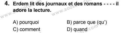 Fransızca 7 Dersi 2018 - 2019 Yılı 3. Dönem Sınavı 4. Soru
