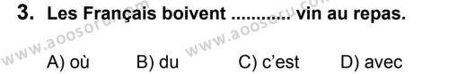 Fransızca 8 Dersi 2011 - 2012 Yılı 2. Dönem Sınavı 3. Soru