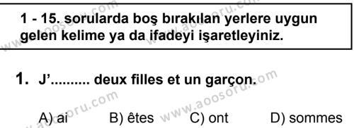 Fransızca 8 Dersi 2011 - 2012 Yılı 3. Dönem Sınavı 1. Soru