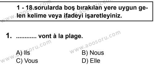 Fransızca 8 Dersi 2012 - 2013 Yılı 1. Dönem Sınavı 1. Soru