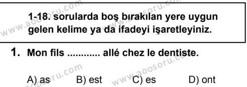 Fransızca 8 Dersi 2012 - 2013 Yılı 2. Dönem Sınavı 1. Soru