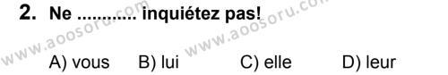 Fransızca 8 Dersi 2012 - 2013 Yılı 2. Dönem Sınavı 2. Soru