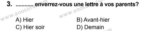 Fransızca 8 Dersi 2012 - 2013 Yılı 2. Dönem Sınavı 3. Soru